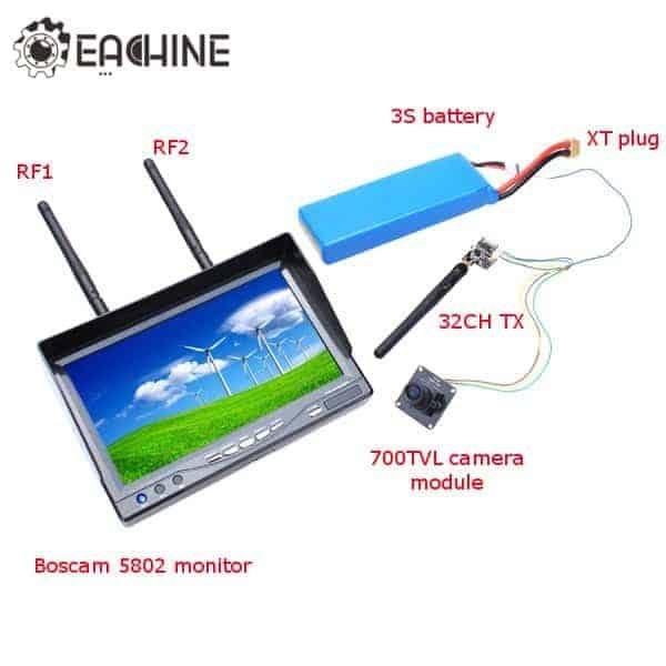 Eachine 700TVL 1/3 Cmos FPV 110 Degree Camera w/32CH Transmission