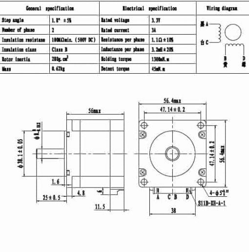 Nema23 56mm shaft 8mm stepper motor 56.4x56.4x56mm 1.3Nm 3A