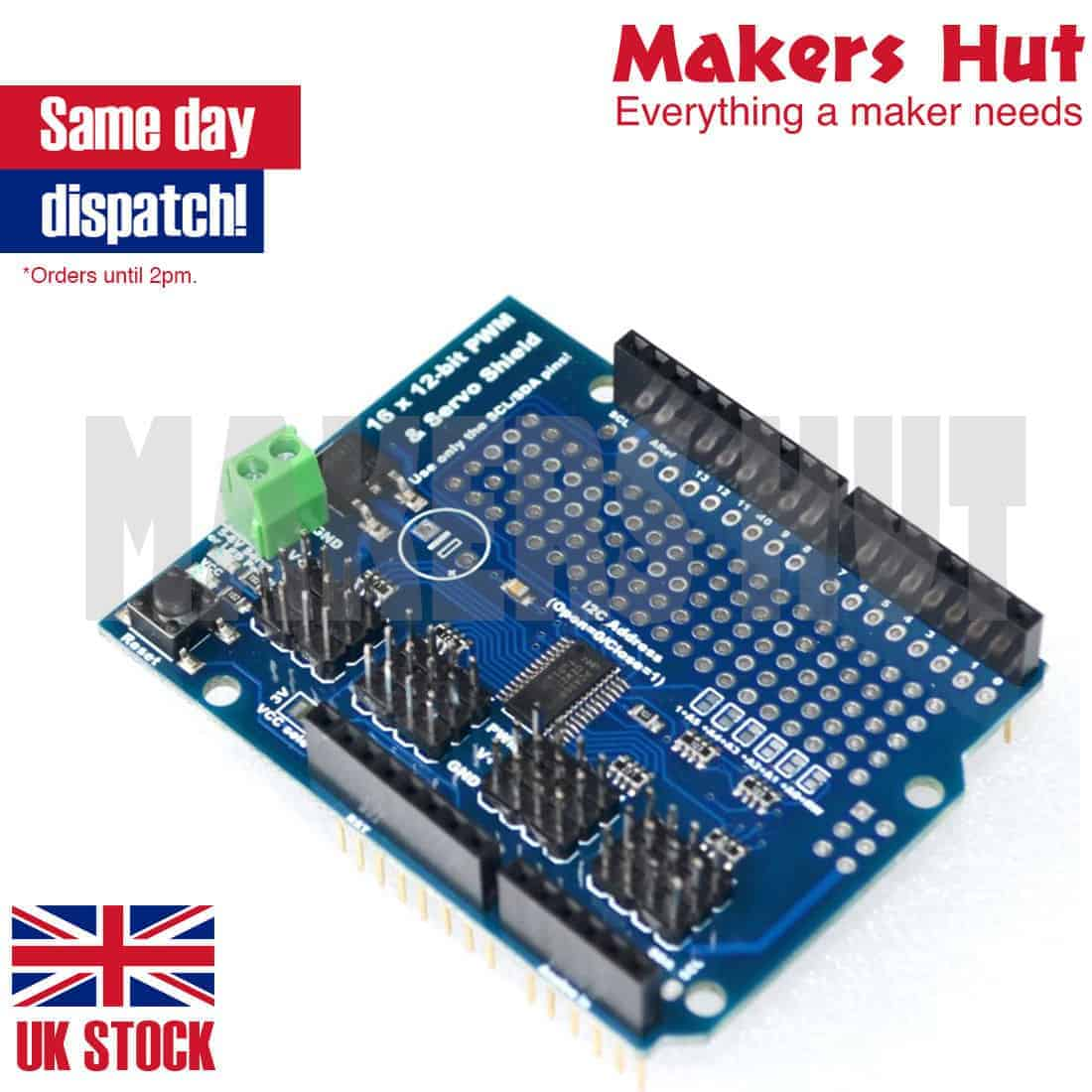 16 Channel 12-bit PWM Servo Shield I2C Interface PCA9685 Arduino